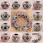 Trendy Crystal Rhinestone Rondelle Barrel European Beads Fit Bracelet Jewelry