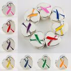 Trendy Enamel Ribbons Cancer Awareness Heart Big Hole  Beads Fit Charm Bracelet