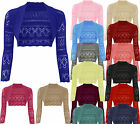 LADIES LONG SLEEVE KNIT BOLERO SHRUGS WOMENS CARDIGANS CROP TOP JUMPERS 8-14