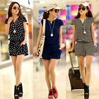 Summer V Neck Print Casual Elastic Jumpsuit Overall Shorts Playsuit Romper Pants