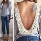 New Womens Backless Long Sleeve Shirt Casual Blouse Tops Shirt Clothing Reliable