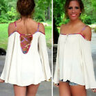 New Sexy Women Off Shoulder Spaghetti Straps Casual Blouse T Shirts Long Tops