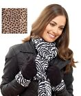 LADIES SOFT FLEECE ANIMAL PRINT SCARF GLOVE SET * XMAS GIFT WINTER WARM SCARVES