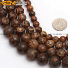 Natural Stone Coffee Vintage Dzi Tibet Agate Stone Beads For Jewelry Making 15""