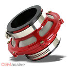 """Racing Cold Air Intake 2.5"""" (63.5mm) Red Bypass Valve Pipe Filter Kit + Clamps"""