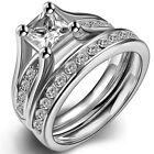 4-12 Stainless Steel Wedding Engagement Set Princess Cut Propose Statement Bride
