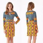 Hale Bob Dress Jersey Size XS-S-M New Print Yellow Blue Ikat NWT Versatile