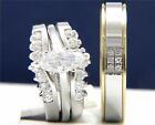 0.95ct Clear Solitaire CZ Engagement Brass Wedding Stainless Steel Band Ring Set
