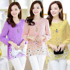 Korean Fashion Women Long Sleeve Chiffon Loose T-shirt Floral Top With Necklace