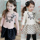 Girls Kids Baby Princess Polka Dot Top Dress T-shirt Tulle Clothes Lace Cotton