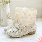 Womens New Summer Knitted Flat Ankle  Boots Hollow Fashion Shoes Sandals Shoes