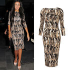 Leopard Dress Long Party Evening Gown Prom Formal Cocktail Ball Women Slim Club