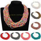 Fashion Jewelry Handmade Multilayers Resin Seed Beads Chunky Chain Bib Necklace