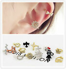 1pc Vogue Snowflake Cross Bow Aircraft Wing Cat Crystal Lady Ear Clip 14 Style