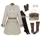 Comfotable Lady Wool Vintage Warm Long Slim Fit Jacket Coat Trench outwear TBUS