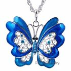 50% OFF Butterfly Beauty Rhinestone Crystal Enamel Pendant Necklace Chain New