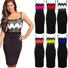 Ladies Celeb Inspired Jessica Lace Contrast Bodycon Knee Length Women's Dress