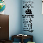 LARGE PERSONALISED CHILDS BEDROOM PIRATE WALL QUOTE NO TRESSPASSERS STICKER