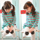 Girl Kids Top Shirt Dress Sets Leggings Pants Outfits Striped Cat 3-8Y Clothes
