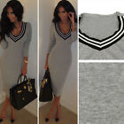 New Winter Spring Women Sexy Long Sleeve Deep V Bodycon Sweater Party Knit Dress