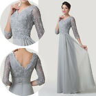 LONG V-Back V NECK Mother Of The Bride Formal Evening Wedding Prom Gowns Dresses