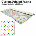 POLKA DOT MULTI COLOURED DESIGN FABRIC LYCRA SPANDEX ALOBA POLYESTER L&S PRINTS
