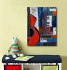 Music Guitar Abstract Stretched Canvas Prints Framed Wall Art Decor Painting DIY