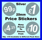 20mm Silver Price Point Stickers POS / Sticky Labels £1, £1.09, £1.99, £5, £10