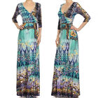 BOHEMIAN BLUE PRINT MAXI DRESS Jersey WRAP X-LONG Skirt Vtg St BOHO Travel S M L