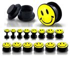 New Novelty Black Acrylic Screw Fit Ear Tunnel Plug with Smiley Face Design