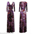 Purple BOHO Paisley MAXI DRESS Jersey FAUX WRAP Long Skirt CRUISE Travel S M L