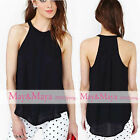 May&Maya Women's Cotton Black Halter Button Detail Top Tee Tank Shirt Blouse