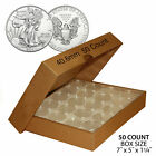 50 US 1oz SILVER EAGLE Direct-Fit Airtight 40.6mm Coin Capsule (QTY: 50) w/ BOX