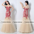 Custom Red Appliqued Nude Mermaid Evening Gown Quince Prom Party Wedding Dresses