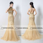 Custom Gold Beaded High Neck Evening Wedding Dresses Sequins Mermaid Gowns Prom