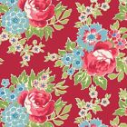 FOR YOUR LOVE LARGE FLORAL MAIN - RED by MAKOWER 100% COTTON FABRIC PATCHWORK