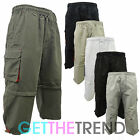 MENS PLAIN ELASTICATED SHORTS POLYESTER CARGO COMBAT SUMMER CASUAL 3/4 PANTS