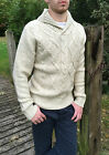 Mens Cable Knit High St Zara Jumper Small S Knitwear Shawl Cow Neck Cream Beige