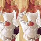 2015 Sexy Lace Crochet Off Shoulder Cocktail Mini Dress Summer Beach Dress White