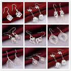New Women Clear Crystals 925 Sterling Silver Dangling Earrings  8 Designs
