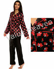 Ladies Satin Pyjamas Summer Scotty Dog Black Red Silky PJ 8 10 12 14 16 18 20 22