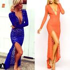 Women Lace Long Sleeve Bodycon Cocktail Party Formal Evening Split Maxi Dress