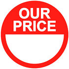 Blank Red Our Price Stickers Sticky Swing Tag Labels 20mm To 45mm Price Point
