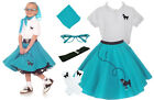 6 pc Girls Poodle Skirt Outfit (1950 Vintage Shirt Cateye Glasses Costume Scarf)