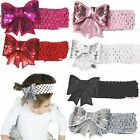 Bling Solid Sequins Glitter Sparkle Kid Baby Girl Hair Pin Clip Bow Headband 2PC