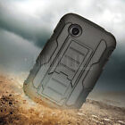 Rugged Armor Hybrid Case Hard Cover Kickstand Clip Holster For LG 306G Tracfone