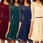 Ladies Long Sleeve Belted Dresses Wedding Party Vintage Womens Lace Dress Size