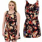 Womens Floral Flower Print Pleated Sleeveless Zip Back Belted Playsuit Romper