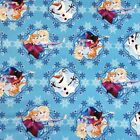 Disney Frozen Olaf, Anna And Elsa Snowflakes 100% Cotton Fabric