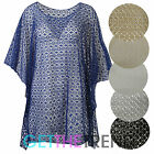 Womens Mesh Knit Baggy Loose Kaftan Top Ladies Oversized Poncho Batwing Top
